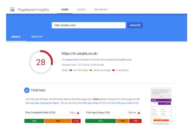 Captura DE PAGESPEED DE GOOGLE
